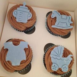 Chocolate baby shower cupcakes.