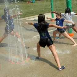 Post-Obstacle Course Stretching on Splashground