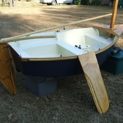 """Pixie"" - self designed, homebuilt 7'6"" sailing dinghy; built 2006"