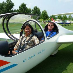 Another happy guest after her first ride in a glider