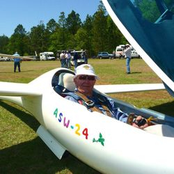 One of our members in his single seat sailplane, waiting to be launched at a contest