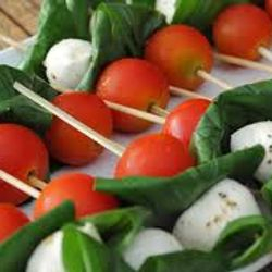 Cherry tomato, boconncini and basil skewers