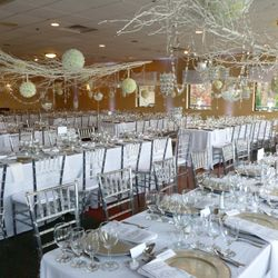 Hang the centerpieces to save room with banquet tables