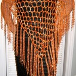 Long Metallic Orange Diagonal Poncho