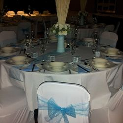 Round tables and tablecloths available at request
