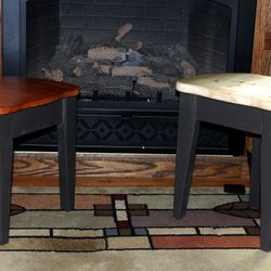 Pine 3 legged stools with Mahogany or Pine seats