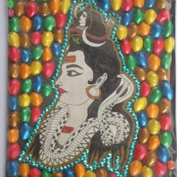 One on my favorite Lord Shiva decorated with leftout nut shells painted in different colors...