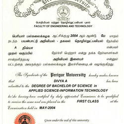 Degree Certificate of my UnderGraduate