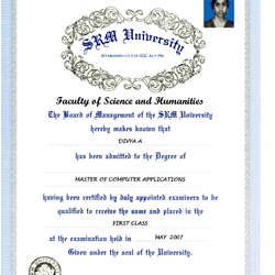 Degree Certificate of my Masters