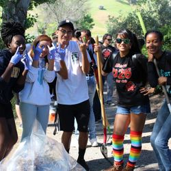Members show their Red Devil Pride at Keep Antioch Beautiful event.