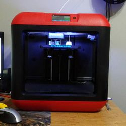 Our newest printer, the FlashForge Finder! Picks up the slack during the busy season on PLA and PETG orders!