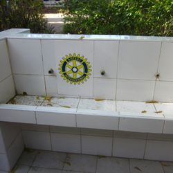 "Sinks donated by Rotary Club - useless because there's usually no water supply. The taps have been taken off for ""safe-keeping""."