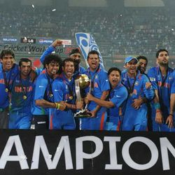 Victorious Indian Cricket Team after their historic 2011 World Cup win.