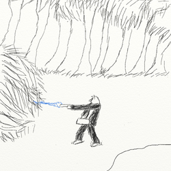 Hearing something behind him, he turns and fires a concealed blaster back into the woods he emerged from.