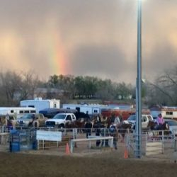 Rainbow over the arena