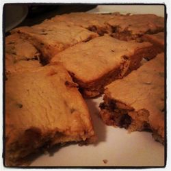 Peanut butter chocolate chip cookie bars.