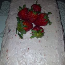 Very berry strawberry cake with strawberry frosting!