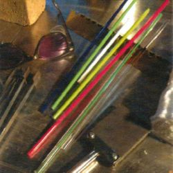 Supplies and tools to be used in the manufacturing of glass beads.