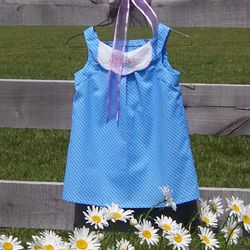 Girls Pinafore with Vintage Linen