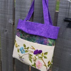 Tote Bag made from Vintage Crewel Work