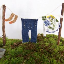 Fairy Clothesline with Jeans, an Apron and Hand Knit Socks