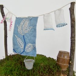 Fairy Clothesline with a Quilt and Pillowcases