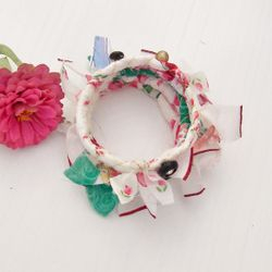 Bangle Stacking Bracelet in Rose and White