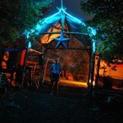 Arbor entrance at night