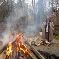Lulu at a winter fire