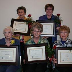 2016 Women In History Marie Eddy (TL), Mary Murray Woods (TR), Jeanette Lahmayer (BL), Judy Hunter (BM), Joan Staffon (BR)