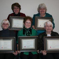 2017 Women In History Mary Bue (TL), Ruth Casper (TR), Joanne Nash (BL), Elaine Musser (BM), MIllie Perner (BR)