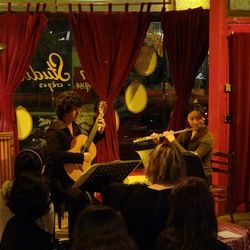 "15 July 2012. ""Classical Revolution Melbourne"" at Open Studio in Melbourne, Australia. Performing Piazzolla's Histoire du Tango with Daniel Nistico"