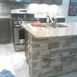 Kitchen-addition of stone veneer
