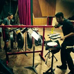 "Percussionists Mikhail Senson (left) and Kevin Castelo (right) during a rehearsal of ""Gandingan sa Kagiliran"" at the Asian Composers League Festival (Quezon City, Philippines, 2015)."