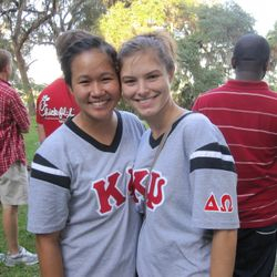 Brother Bianca and Brother Amanda at the annual Low Country Boil during rush week