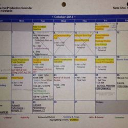 """Production Calendar - """"Cat in the Hat"""""""