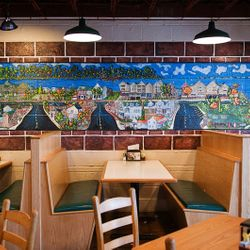 Whimsical Mural in Poor Richards in downtown Manteo... It is a layout of Downtown... so awesome :D