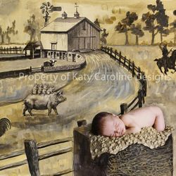 This one is Still a WORK IN PROGRESS... but cool!  Gideons mom wanted a farm in sepia tones using the prints she purchased off of etsy of farm animals!!!