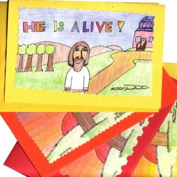 """Easter Cards 1 """"He Is Alive"""" (top one) and Easter Cards 2 """"He Has Risen"""" (bottom ones) for $2.00 each."""
