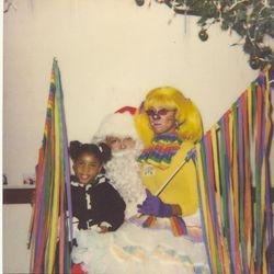 Lady Rainbow with Santa and a little raindrop.