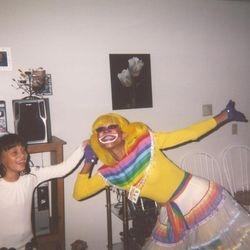 Lady Rainbow helping her friend celebrate her birthday.