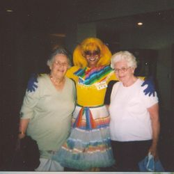 Lady Rainbow with her senior friends.