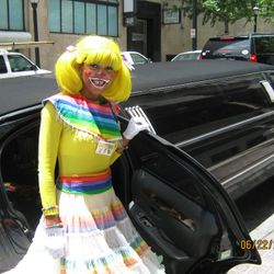 Lady Rainbow arrives in style.