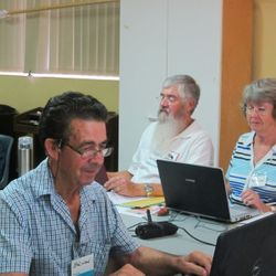 Brian James, Kevin and Marilyn Stemm hard at work at the Workshop