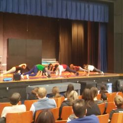 Yoga students perform a set during our LEAP Family Winter Celebration