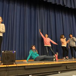 Drama students perform monologues during our LEAP Family Winter Celebration.
