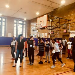 Fitness students and students from MS 447 take part in a join Zumba class.