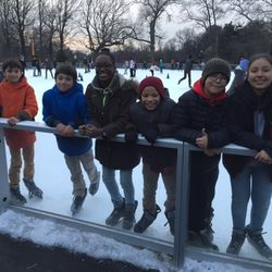 Students on our Ice Skating trip pose for the camera.