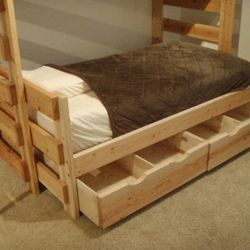 Twin bed under an extra long twin loft