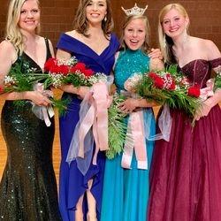 L to R: Midwest Runner Up Gabi Ross, Miss Midwest, Meghan Payne, Miss Morris Area, Nicole Gillespie, Morris Area Runner Up, Abigail Malek